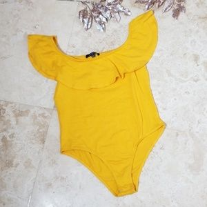 AMBIANCE Yellow off shoulder Body Suit/3 for $25